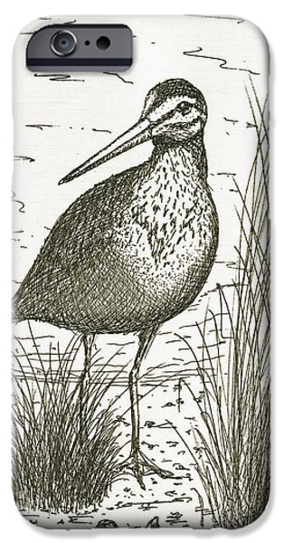 Cape Cod Mixed Media iPhone Cases - Yellowlegs Shorebird iPhone Case by Charles Harden