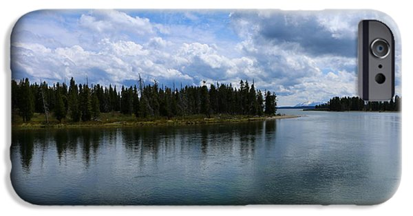 Meadow Photographs iPhone Cases - Yellowstone Lake At Fishing Bridge iPhone Case by Christiane Schulze Art And Photography