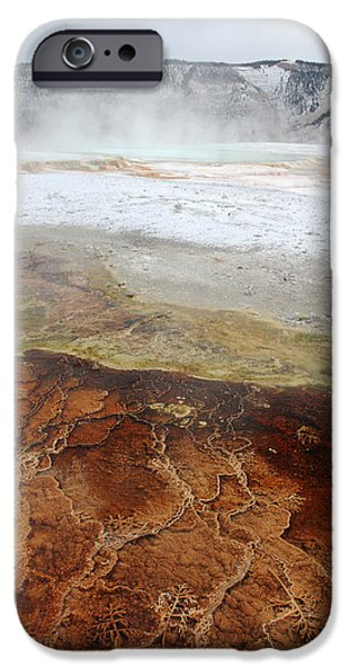 Out Of This World iPhone Cases - Yellowstone Mammoth hot springs iPhone Case by Pierre Leclerc Photography
