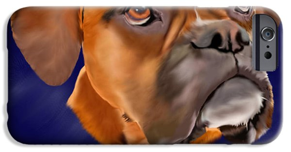 Boxer Digital Art iPhone Cases - Yes Please iPhone Case by Sally Lannier