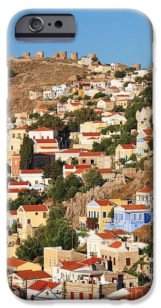 Pastel iPhone Cases - Yialos town on Symi island iPhone Case by David Fowler