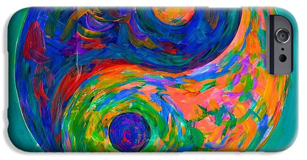 Abstract Expressionist iPhone Cases - Yin Yang Spin iPhone Case by Kendall Kessler