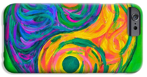 Abstract Expressionist iPhone Cases - Yin Yang Spring iPhone Case by Kendall Kessler
