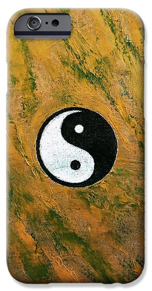 Yin iPhone Cases - Yin Yang Stone iPhone Case by Michael Creese