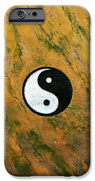 Yin Paintings iPhone Cases - Yin Yang Stone iPhone Case by Michael Creese