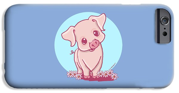 Kim Drawings iPhone Cases - Yittle Piggy iPhone Case by Kim Niles