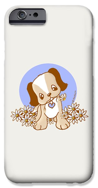 Cute Puppy iPhone Cases - Yittle Puppy iPhone Case by Kim Niles