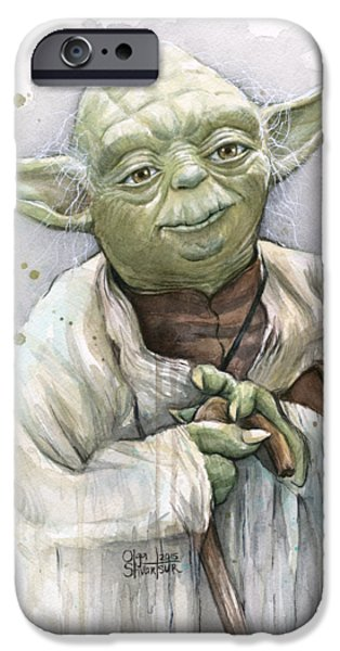 Science Fiction Paintings iPhone Cases - Yoda iPhone Case by Olga Shvartsur