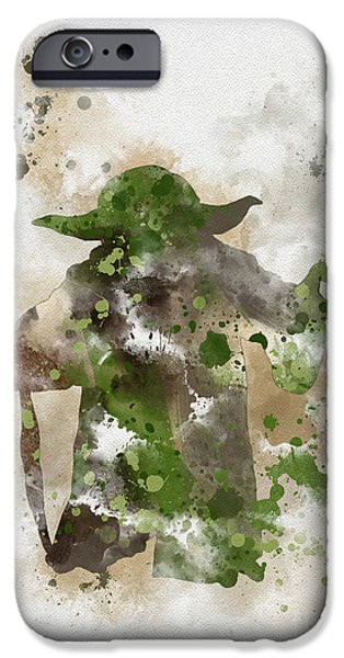 Science Mixed Media iPhone Cases - Yoda iPhone Case by Rebecca Jenkins