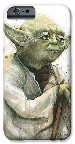 Science Fiction Mixed Media iPhone Cases - Yoda Watercolor iPhone Case by Olga Shvartsur