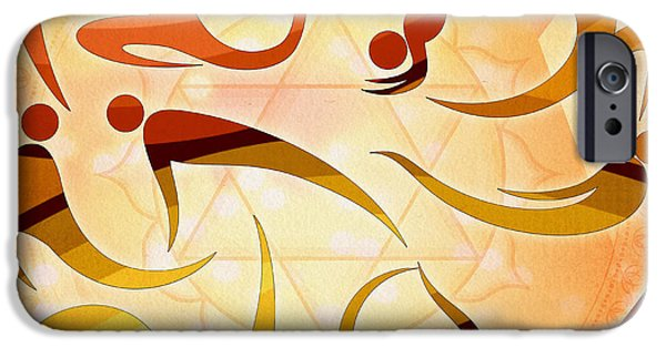 Abstract Digital Mixed Media iPhone Cases - Yoga Asanas iPhone Case by Bedros Awak