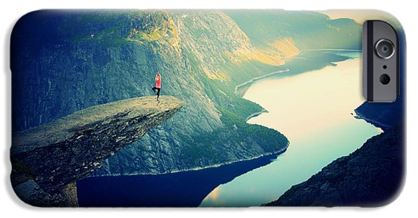 Ledge iPhone Cases - Yoga On Top Of The World iPhone Case by Julia Caesar