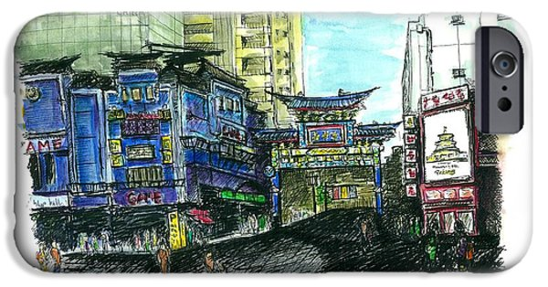 Buildings Mixed Media iPhone Cases - Yokohama Chinatown East Gate iPhone Case by J Travis Duncan