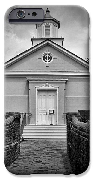 Yorktown iPhone Cases - York-Hampton Parish Church - BW iPhone Case by Stephen Stookey