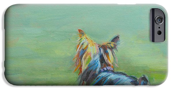 Portrait Paintings iPhone Cases - Yorkie in the Grass iPhone Case by Kimberly Santini