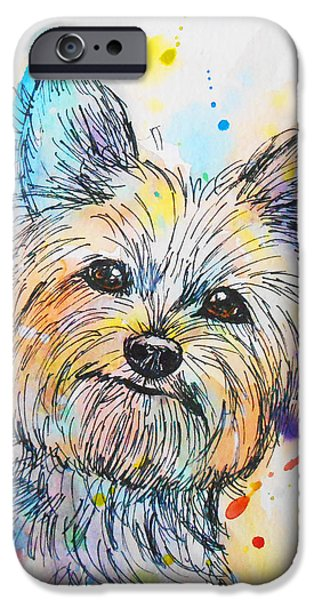 Yorkshire Terrier Watercolor iPhone Cases - Yorkie  iPhone Case by Nicole Chen