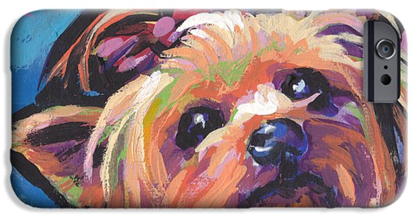 Yorkshire Terrier Art iPhone Cases - Yorkshire Puddin iPhone Case by Lea