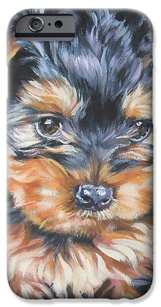 Yorkshire Terrier iPhone Cases - Yorkshire Terrier pup iPhone Case by Lee Ann Shepard