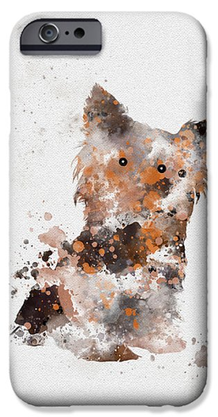 Canine Mixed Media iPhone Cases - Yorkshire Terrier iPhone Case by Rebecca Jenkins