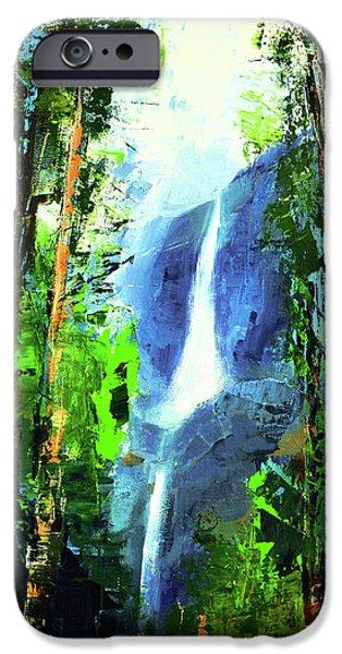 Painter Paintings iPhone Cases - Yosemite Falls iPhone Case by Elise Palmigiani