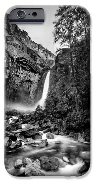 Flowing iPhone Cases - Yosemite Waterfall BW iPhone Case by Az Jackson
