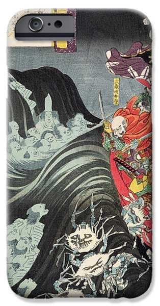 Ghost Story iPhone Cases - Yoshitsune with Benkei and Other Retainers in their Ship Beset by the Ghosts of Taira iPhone Case by Utagawa Kuniyoshi