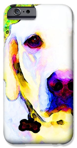 You Are My World - Yellow Lab Art iPhone Case by Sharon Cummings