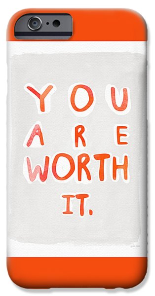 Kids Sports Art iPhone Cases - You Are Worth It iPhone Case by Linda Woods