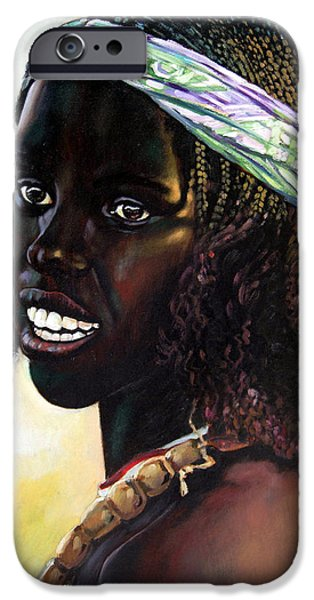 Young Paintings iPhone Cases - Young Black African Girl iPhone Case by John Lautermilch