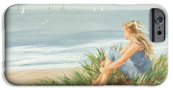 Beach Landscape Drawings iPhone Cases - Young Christina iPhone Case by Tina Obrien