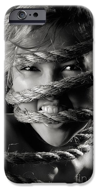 Power iPhone Cases - Young Expressive Woman Tied in Ropes iPhone Case by Oleksiy Maksymenko