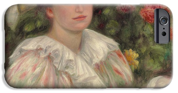 Renoir iPhone Cases - Young Girl Amongst Flowers or Woman with White Hat iPhone Case by Pierre Auguste Renoir