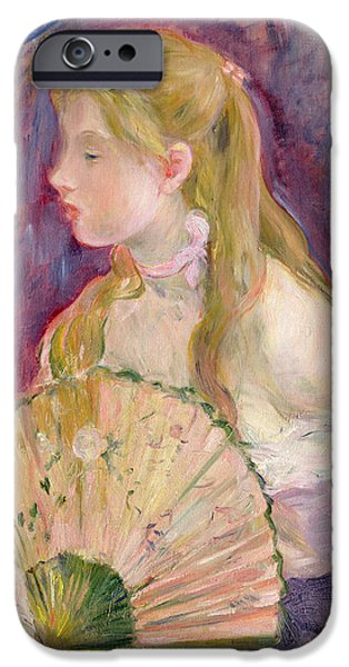 Young iPhone Cases - Young Girl with a Fan iPhone Case by Berthe Morisot