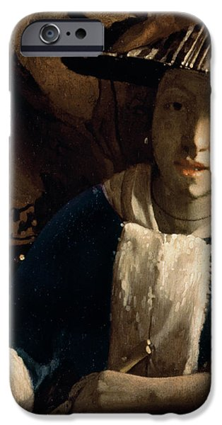 Young iPhone Cases - Young Girl with a Flute iPhone Case by Jan Vermeer