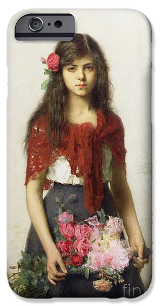 Pink Roses iPhone Cases - Young girl with blossoms iPhone Case by Alexei Alexevich Harlamoff