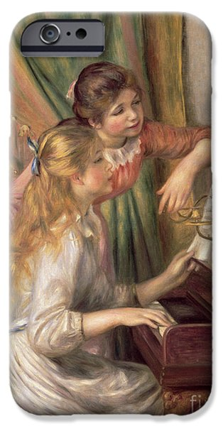 Young iPhone Cases - Young Girls at the Piano iPhone Case by Pierre Auguste Renoir