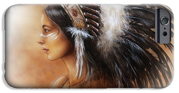 Native American Spirit Portrait iPhone Cases - Young Indian Woman Wearing A Big Feather Headdress A Profile Portrait On Structured Abstract iPhone Case by Jozef Klopacka