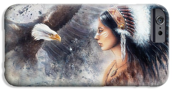 Native American Spirit Portrait iPhone Cases - Young Indian Woman Wearing A Gorgeous Feather Headdress. With An Image  Eagle Spirits iPhone Case by Jozef Klopacka