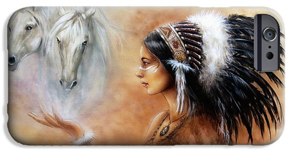 Native American Spirit Portrait iPhone Cases - Young Indian Woman Wearing A Gorgeous Feather Headdress With An Image Of Two White Horse iPhone Case by Jozef Klopacka