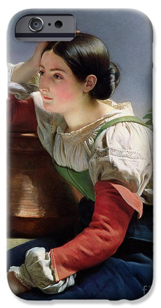 Pitcher iPhone Cases - Young Italian at the Well iPhone Case by Franz Xaver Winterhalter