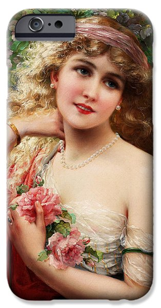 Young Digital Art iPhone Cases - Young Lady With Roses iPhone Case by Emile Vernon