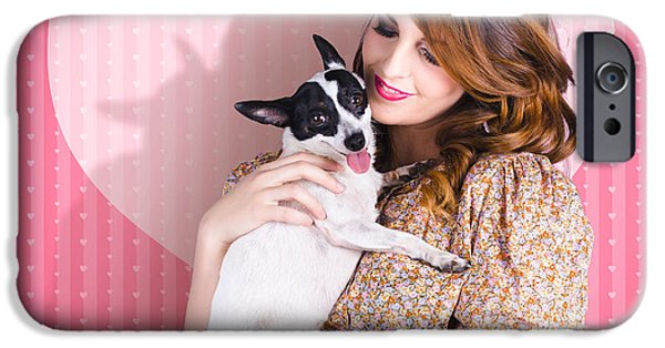 Fox Terrier iPhone Cases - Young Loving Woman Holding Cute Small Pet Dog iPhone Case by Ryan Jorgensen
