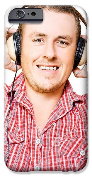 Youthful iPhone Cases - Young man listening to music through earphones iPhone Case by Ryan Jorgensen