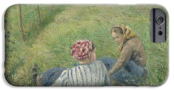 Pissarro iPhone Cases - Young Peasant Girls Resting In The Fields Near Pontoise iPhone Case by Camille Pissarro