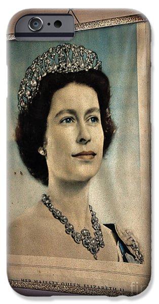 Queen Elizabeth iPhone Cases - Young Queen Elizabeth II iPhone Case by Kaye Menner