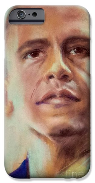 Obama Pastels iPhone Cases - Young Senator iPhone Case by Cynthia Pierson