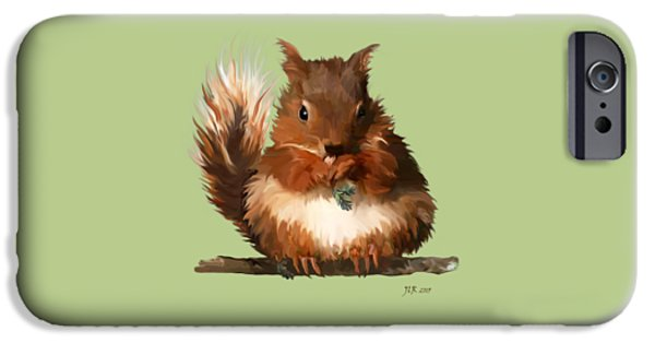 Young Paintings iPhone Cases - Young Squirrel iPhone Case by Bamalam  Photography