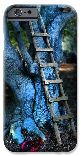 Escape iPhone Cases - Young Woman Climbing a Tree iPhone Case by Jill Battaglia