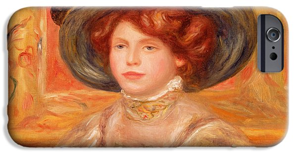 Woman In A Dress iPhone Cases - Young Woman in a Blue Hat iPhone Case by Pierre Auguste Renoir