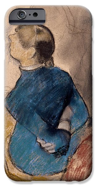 19th Century Pastels iPhone Cases - Young Woman in Blue iPhone Case by Edgar Degas